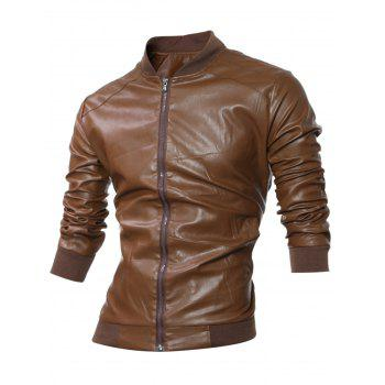 Zip Up Stand Collar Rib-Hem Faux Leather Jacket
