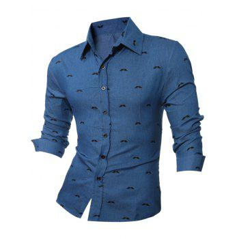 Long Sleeve Beard Printed Chambray Shirt