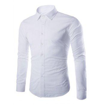 Button Up Turn-down Collar Plain Shirt