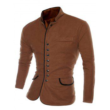 Mandarin Collar Contrast Piping Back Vent Coat
