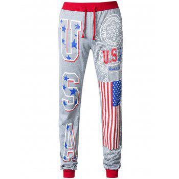 Contrast Color Flag Pattern Printed Drawstring Jogger Pants