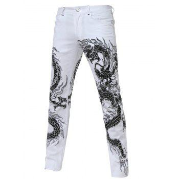 Straight Leg Zipper Fly Totem Print Jeans