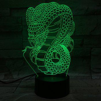 3D visuel +7 Couleurs Changement serpent LED animal Decor Night Light - coloré