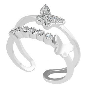 Rhinestone Butterfly Ring