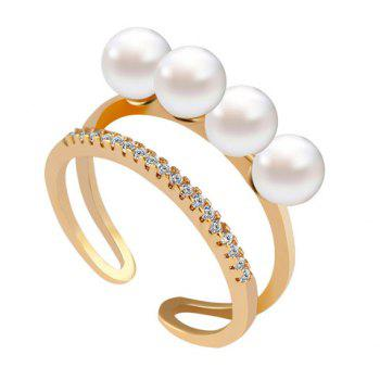 Artificial Pearl Rhinestone Beads Cuff Ring