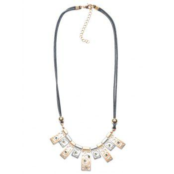 Layered PU Leather Polished Floral Geometric Necklace