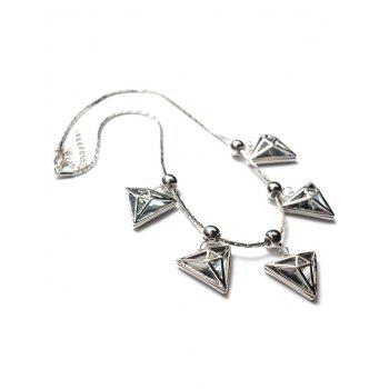 Hollow Polished Triangle Beaded Necklace