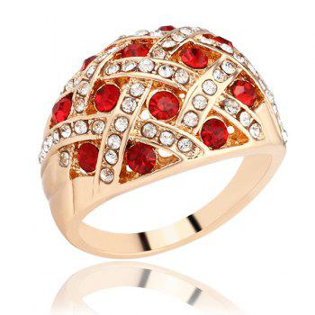Woven Rhinestone Curved Ring