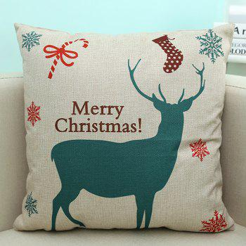 Linen Sofa Cushion Merry Christmas Deer Printed Pillow Case