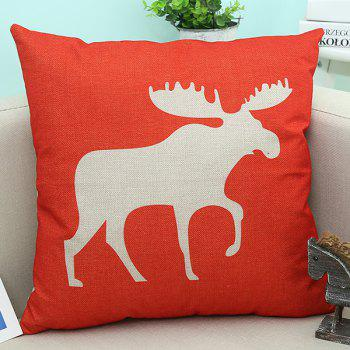 Linen Christmas Deer Printed Sofa Cushion Pillow Case
