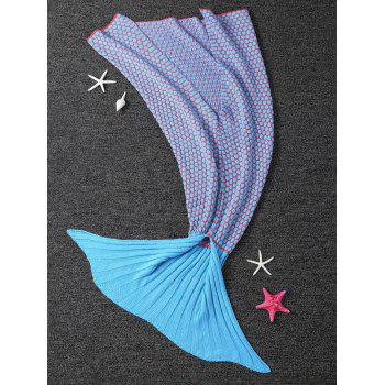 Confortable Dot Knitting Sleeping Bag Blanket Sofa enfants Wrap Mermaid - Bleu