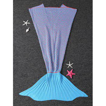 Buy Comfortable Dot Knitting Sleeping Bag Sofa Kids Wrap Mermaid Blanket BLUE