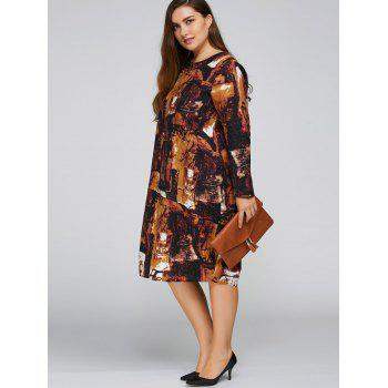 Plus Size Printed Cocoon Dress with Pocket - ANTIQUE BROWN ONE SIZE