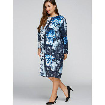 Plus Size Printed Cocoon Dress with Pocket - DEEP BLUE ONE SIZE