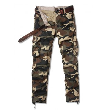 Pockets Embellished Camouflage Straight Leg Zipper Fly Cargo Pants