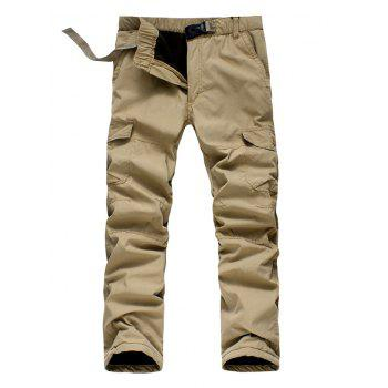 Thicken Plastic Buckle Straight Leg Zipper Fly Cargo Pants