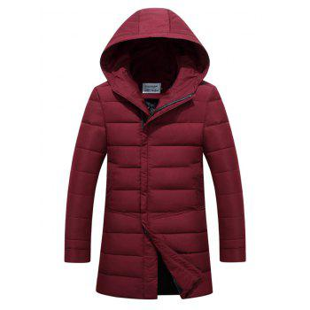 Lengthen Covered Zip-Up Hooded Padded Coat