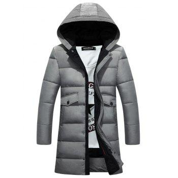 Lengthen Pockets Zip-Up Hooded Padded Coat