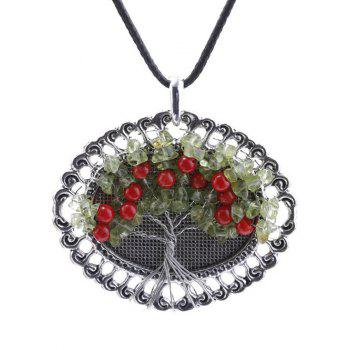 Handmade Beaded Life Tree Round Pendant Necklace