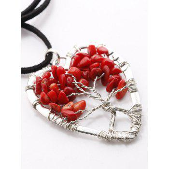 Buy Hollow Heart Beaded Pendant Necklace RED