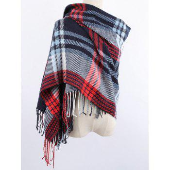 Warm Stripe Plaid Print Fringed Edge Shawl Blanket Wrap Scarf