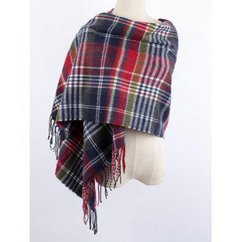 Warm Plaid Print Fringe Shawl Wrap Scarf
