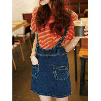 Front Pocket Denim Skirt With Suspenders