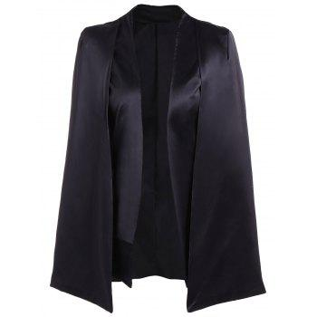 Formal Collarless Jacket Cape Blazer - BLACK S