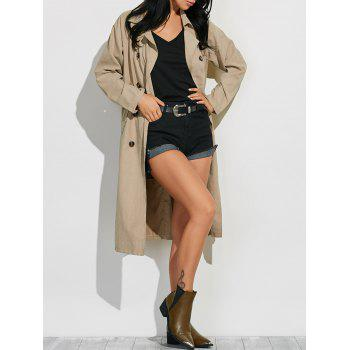 Lapel Belted Maxi Pea Trench Coat