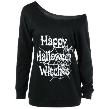 Buy Plus Size Skew Collar Halloween T-Shirt BLACK