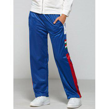 Color Block Elastic Waist Sports Pants - BLUE L