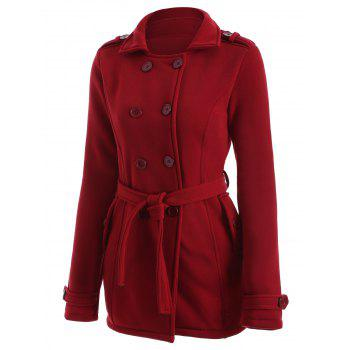 Double-Breasted Fitted Belted Overcoat - XL XL