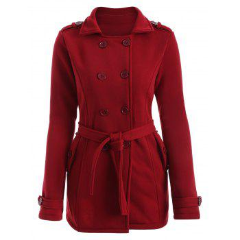 Double-Breasted Fitted Belted Overcoat - RED M