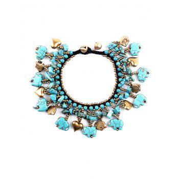 Statement Heart Fish Beads Bell Faux Turquoise Bracelet