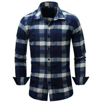 Long Sleeve Turn-Down Collar Color Block Checked Shirt