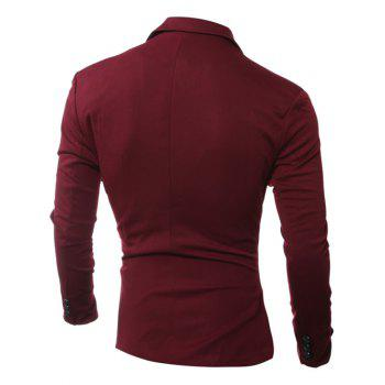 One Button Edging Lapel Long Sleeve Blazer - WINE RED WINE RED