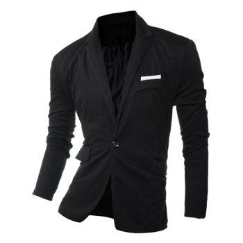 One Button Edging Lapel Long Sleeve Blazer - BLACK BLACK