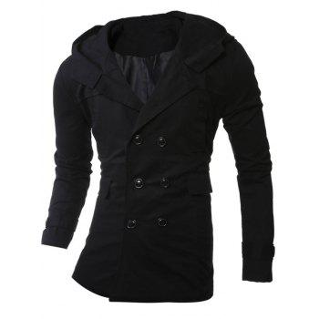 Hooded Lengthen Double-Breasted Coat