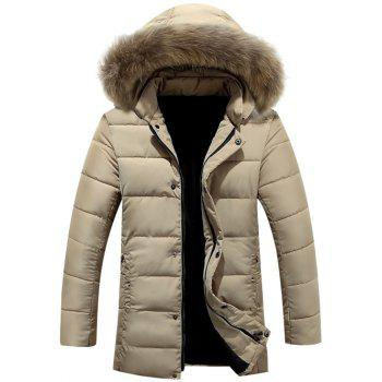 Lengthen Faux Fur Collar Hooded Zip-Up Quilted Coat