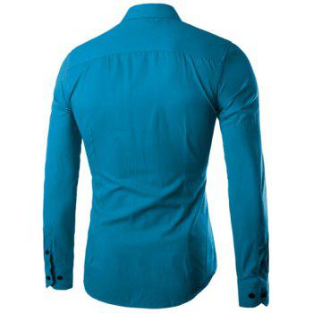 Plus Size Slimming Turn-Down Collar Long Sleeve Shirt - WATER BLUE WATER BLUE