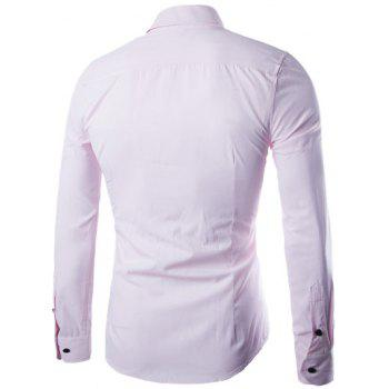 Plus Size Slimming Turn-Down Collar Long Sleeve Shirt - PINK M