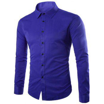 Plus Size Slimming Turn-Down Collar Long Sleeve Shirt