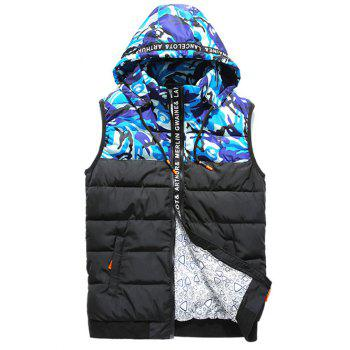 Selvedge Embellished Camouflage Spliced Hooded Zip-Up Down Waistcoat