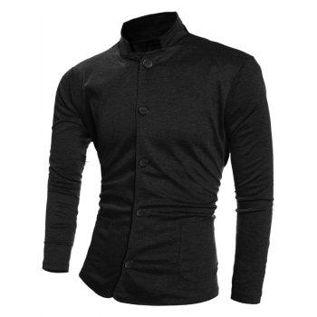 Single-Breasted Pockets Design Stand Collar Jacket
