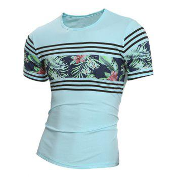 Crew Neck Short Sleeve Stripe and Floral Print T-Shirt