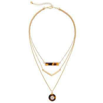 Rhinestone V Shaped Circle Geometric Layered Necklace