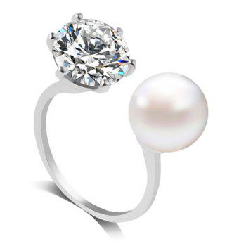 Rhinestone Artificial Pearl Engagement Ring
