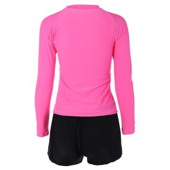 Quick Dry T-Shirt and Shorts Dive Suit - HOT PINK L