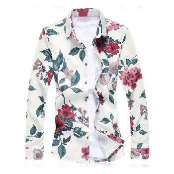 Plus Size Floral Leaves Printed Long Sleeve Shirt