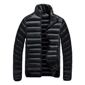 Zip-Up Stand Collar Quilted Jacket